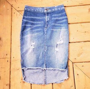 GUESS High Waisted Destressed Denim Skirt
